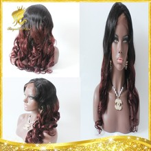 Hot Selling! Ombre Lace front/ full lace wig for black women two tone #1b/99j body wave with middle parts 100% Brazilian Hair