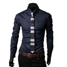 New design high quality polyester with cotton mixed dark plaid design men's casual new style shirts