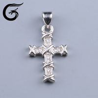 GuoLong new arrival rhodium plated 925 sterling silver jesus cross crucifix