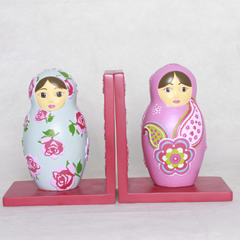 Lucite Flower Painting Babushka doll Bookends