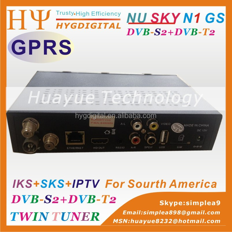 South America 1080p HD decoder Nusky N1GS free SKS IKS IPTV set top box isdb-t DVB-S2 tv receiver with GPRS WIFI