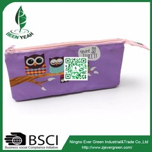 Flat Cute Cartoon Printed Pencil Case for Kids with Compartments