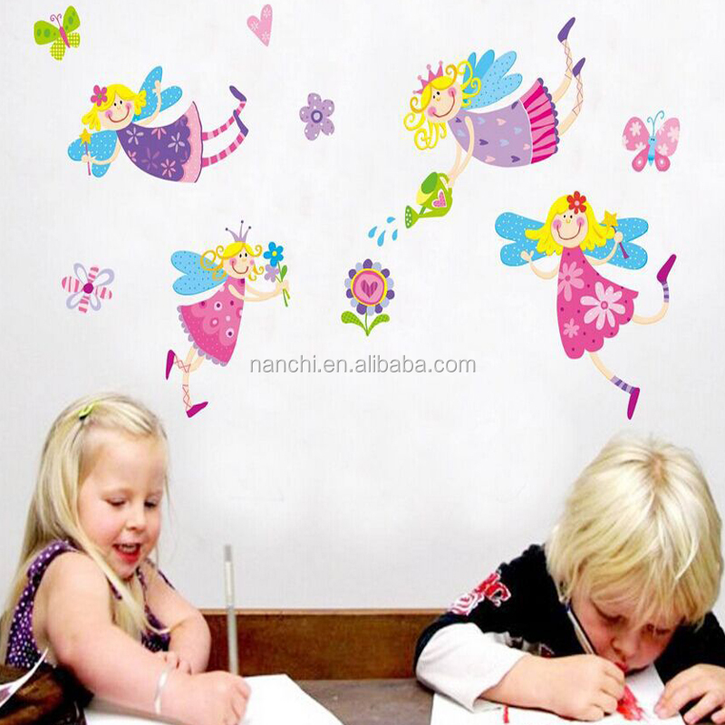 Lovely girls with wings water the flowers wall stickers girls rooms kindergarten decoration bedroom living room sofa home decal