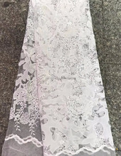 Beautiful white lace For dress Latest french Paris fabrics with stones TS119-2
