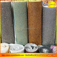 Hot fix Aaluminum Rhinestone Mesh 3MM SS10 Crystal AB Silver Base Mesh For Clothing Shoes Dress