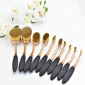 Best selling Rose Gold black tooth makeup brush,10pcs oval cosmetic makeup brush set
