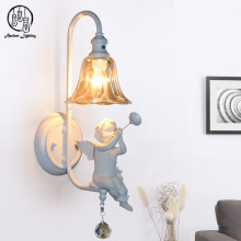 Creative Design Resin Angel Deco Modern Indoor Glass Wall Lamp