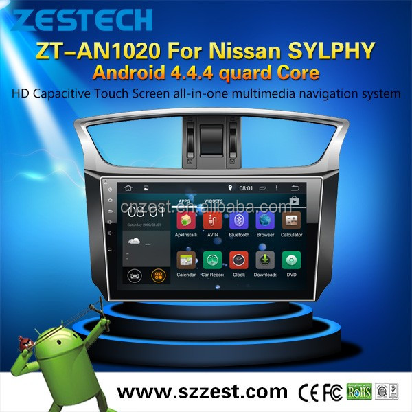 Android car lcd monitorfor Nissan Sylphy/Sentra/Almera/Pulsar 2014 car multimedia with 1024*600 high resolution