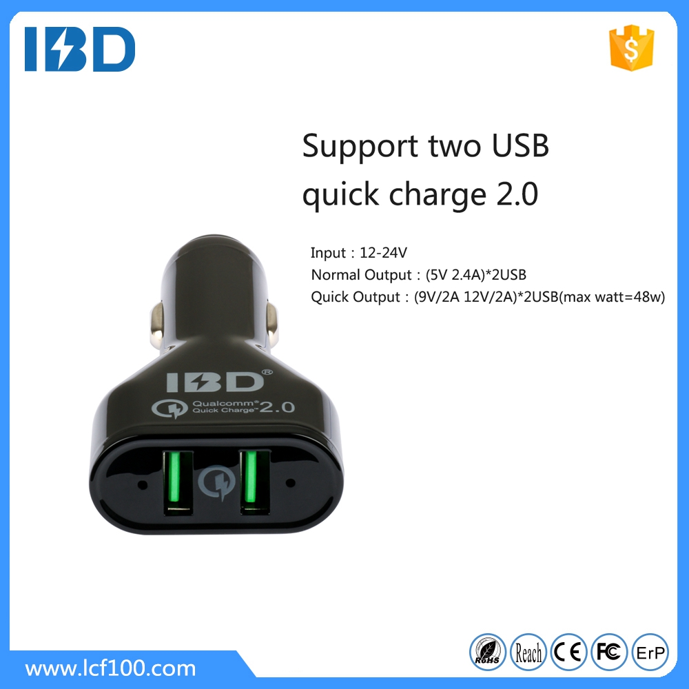 100% QC 2.0 pass Quick charge QC 2.0 micro usb car charger for Google Nexus 6,Samsung Galaxy A8 (KDDI Japan)&ect smart phone