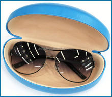 YT3060 Blue Clam Shell Snap Shut Leather Hard Case for Large Ladies Women Sunglasses