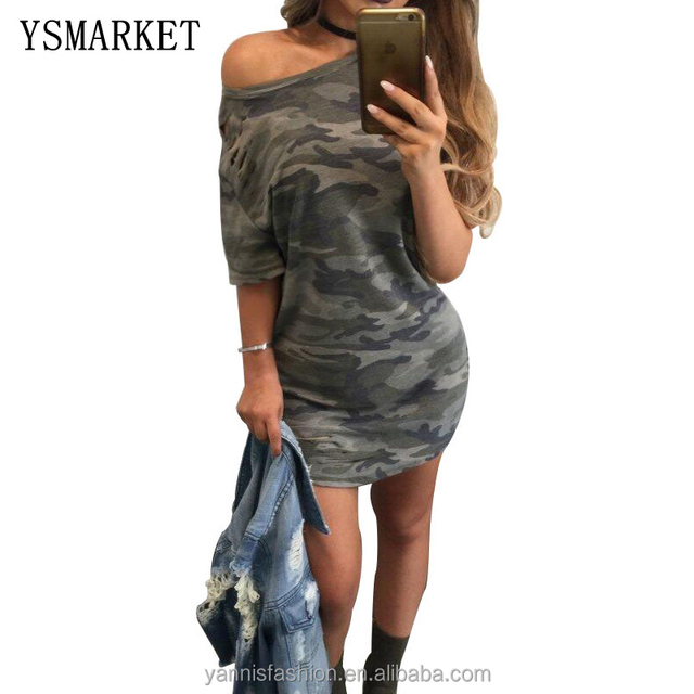 Summer Women Sexy Camouflage Printing Mini Dress Robe Casual Party Night Club Dress E5261