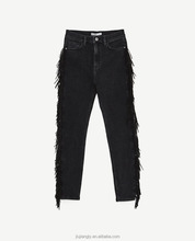 women's fringes high waist black slim fit fashion jeans