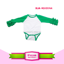 Baby clothes climb body suit wholesale knit cotton romper carter's long raglan sleeve green icing ruffle baseball one piece tee