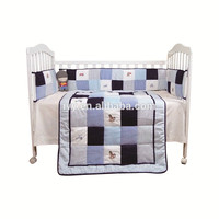 2015 New design kids bed sheets china manufacturing, baby bedding set bright color manufacturing blue and brown bedding