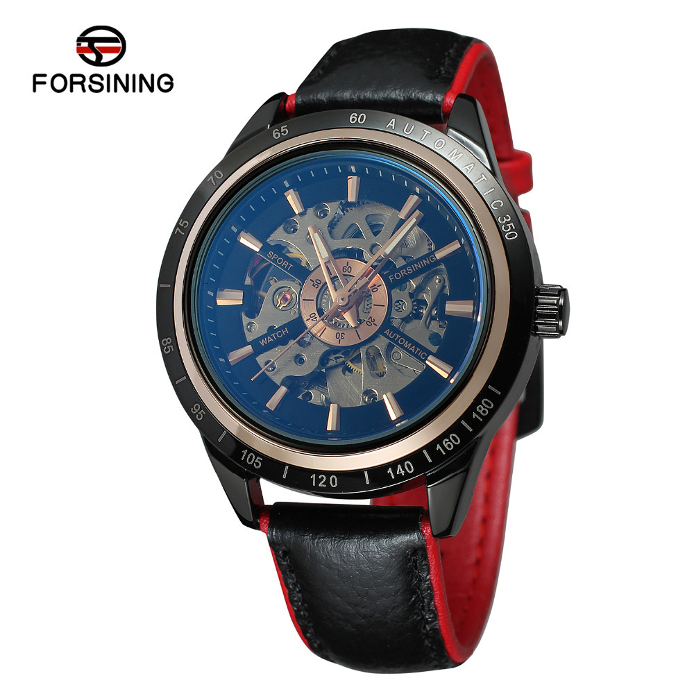 FORSINING blue glass waterproof men's fashion casual hollow automatic mechanical watch