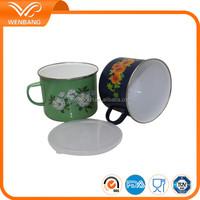 Green coffe drinking mug cup, enamel flower printed custom stainless steel rim coffee cup set