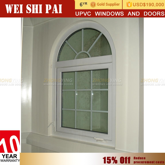excellent soundproof upvc white arch window design casement type