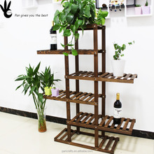 Pan Living room Balcony display rack stand Assemble European Wood rack outdoor wooden flower shelf
