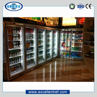 refrigerator showcase with glass doors used as yeti tundra cooler in supermarket