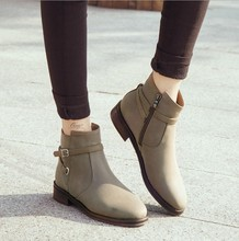 zm21393a 2016 the European and American style women winter ankle boots fashion flat for women boot shoes