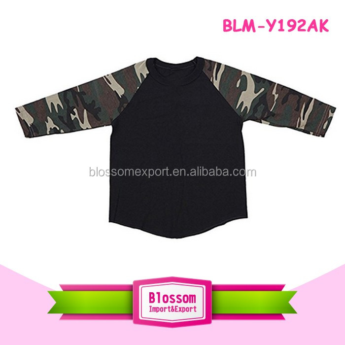 Monogram Blanks Kids Children Raglan T Shirts 3/4 Contrast Raglan Sleeve Curve Hem Plain Jersey Baseball Tee Shirts Wholesale