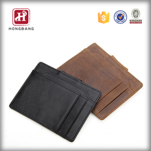 Custom Genuine Leather Money Clip Front Pocket Wallet with Magnet Clip Card Id Case