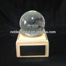 NOBLE Custom Made Engraved Crystal Globe Award with Name Plate on Wood Base