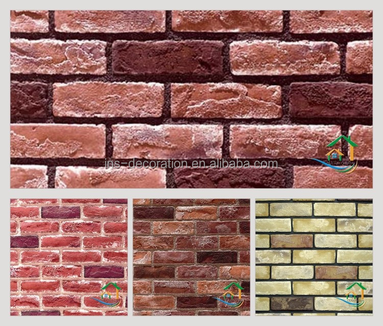 Old red brick wall stone tile texture