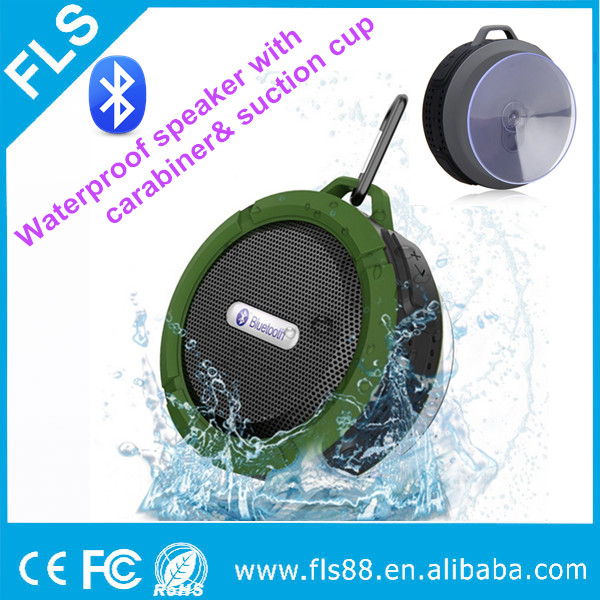 Hot sale portable waterproof bluetooth speaker with suction cup and carabiner