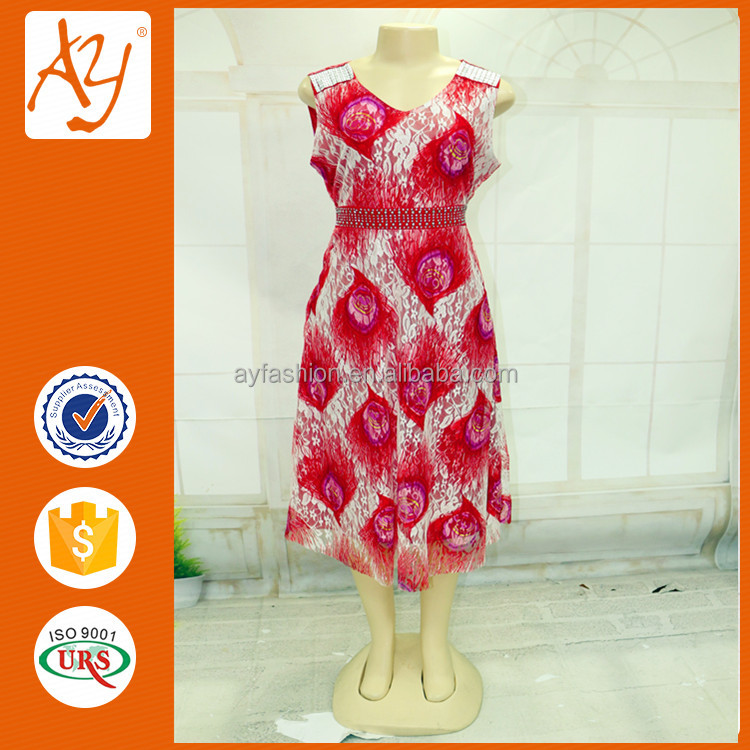 Unique clothing manufacturer priting peacock flower lace fashion girl dress