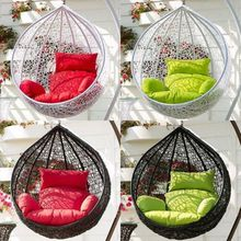 Hanging Wicker Swing Chair Egg Shape Outdoor Furniture w/Cushion & Stand*Brown/