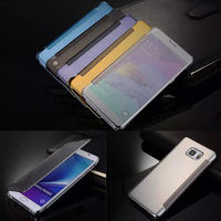Luxury Clear View Mirror Screen Flip Leather Smart Case For Samsung GALAXY Note 5 N9200