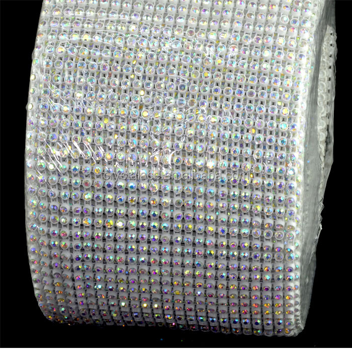 24 rows white base crystal AB stretch elastic sew on mesh crystals