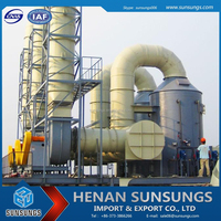 Air treatment system, dust and mist eliminator, gas scrubber for sulphuric acid plant