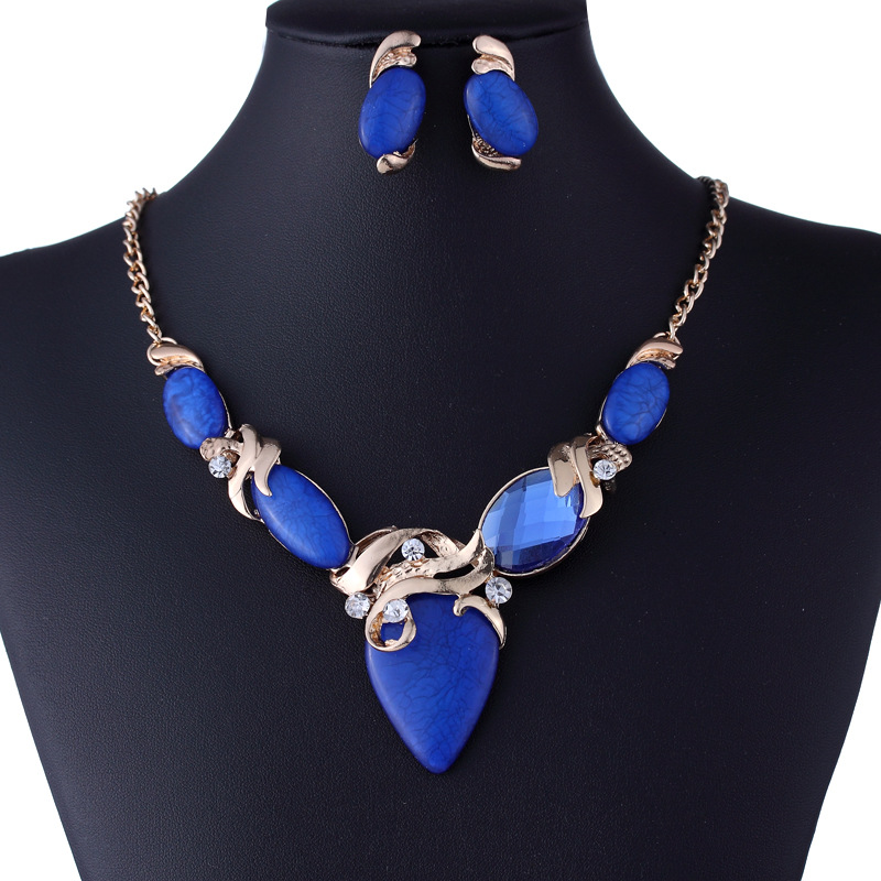 Fashion Vintage Large Blue Turquoise Jewelry Set Geometric Resin Crystal Earrings Choker necklace Jewelry Sets Wholesale