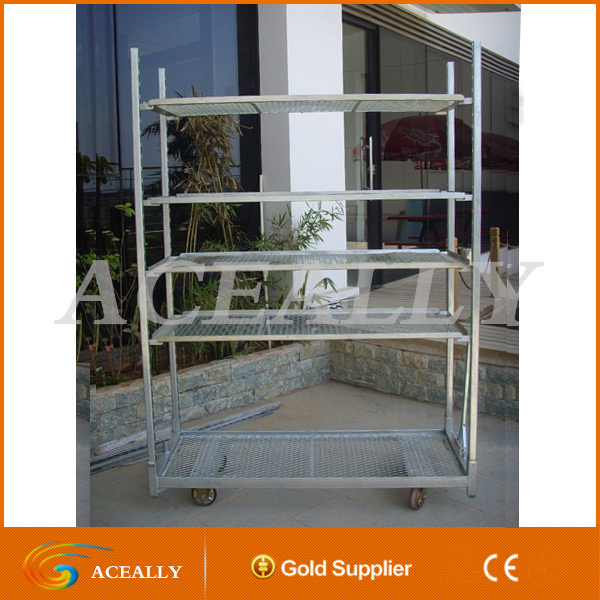 ACEALLY Multilayer flower transport trolley cart plant nursery rack stand roll container