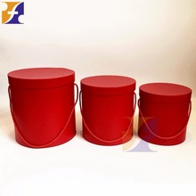 Blank NO LOGO PRINTING cardboard round flower rose box with ROPE/ One set 3 boxes/ RED