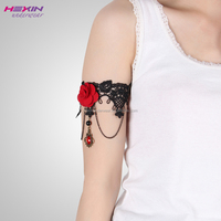 Gothic Dance Lace Armband Armlet Arm Band Red Rose Flower Bracelet