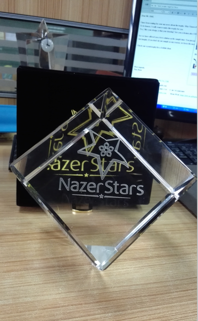 Cheap 5'' Glass Cube Block Custom Any Shape Creative Gift Crystal Trophy and Awards