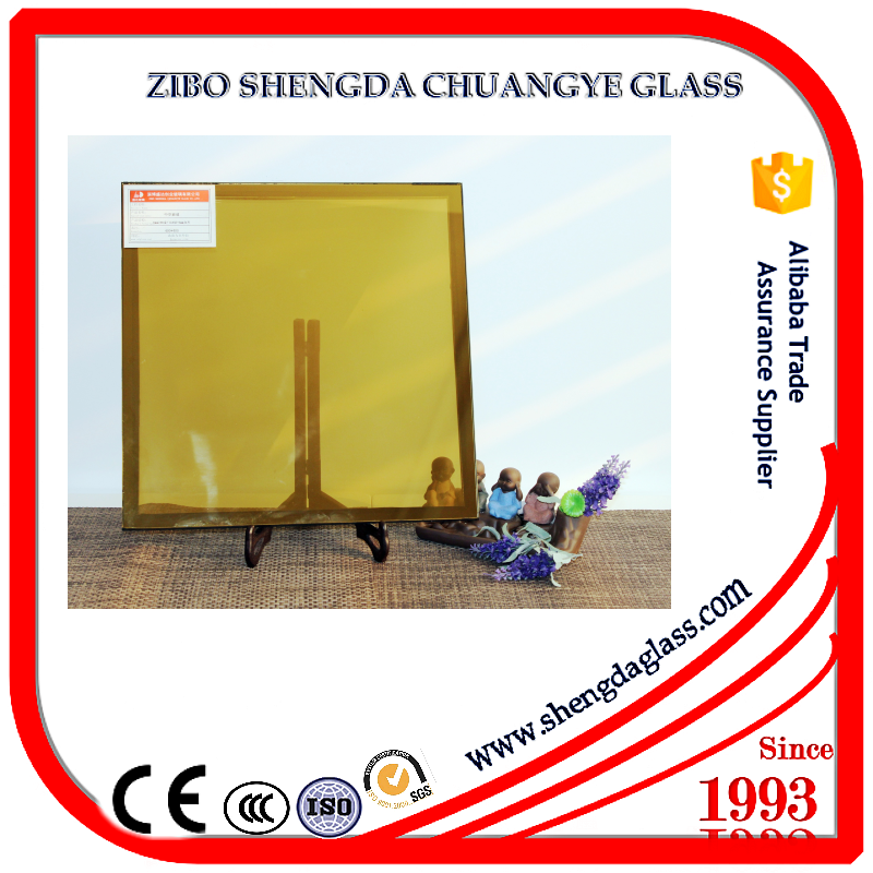 Shengda manufacturer 8mm thickness golden stained glass