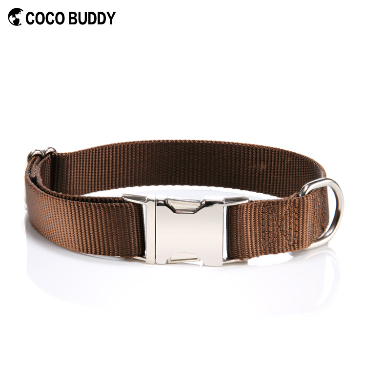 Colorful Dog Premium Ribbon Overlay Zinc Alloy Metal Dog Collar Buckle 100 Pure Nylon Choke Collars For Dogs