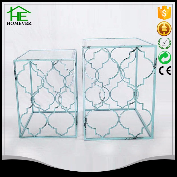 Wholesale ce metal antique retro blue square glass coffee table made in china