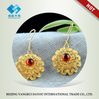 Hand-crafted Gold Filigree Triple Layer Flower Red Garnet Earrings