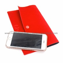China Supplier Satin Linen Velvet Button Closure Pouch Mobile Phone Bag