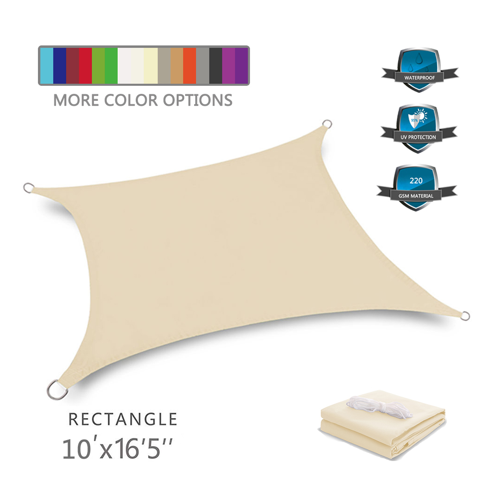 waterproof shade sail rectangle patio sail sun shades shade sails for patios <strong>10</strong>' <strong>x</strong> 16'