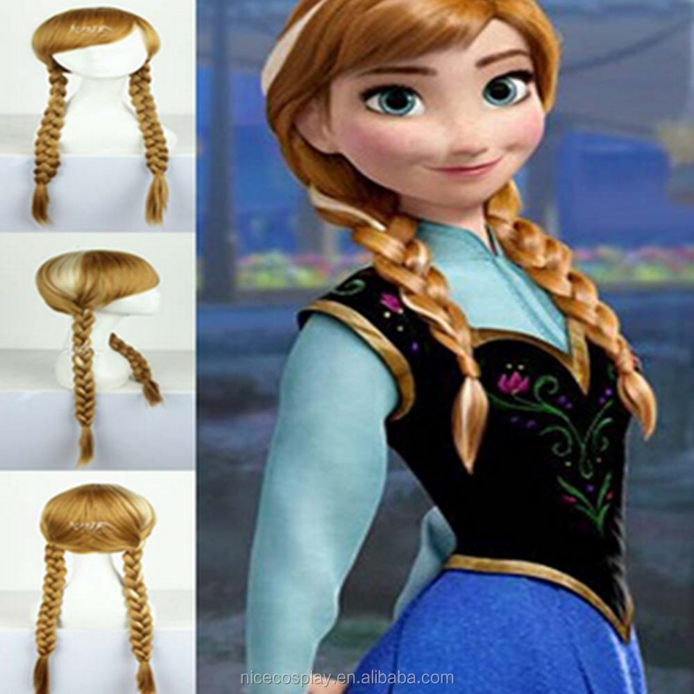 Winter Romance Cosplay Anna Wig Double Braids Anime Wigs Wholesale