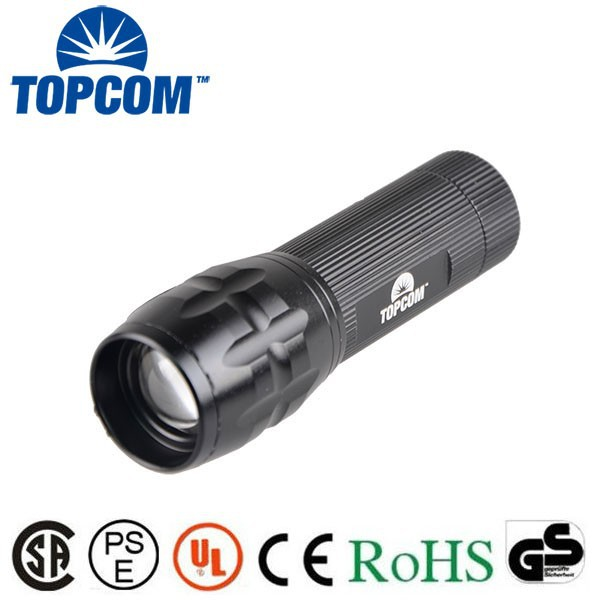 3W XPE Zoomable Ultra Bright Rechargeable Aluminium LED Torch Light Police Flashlight