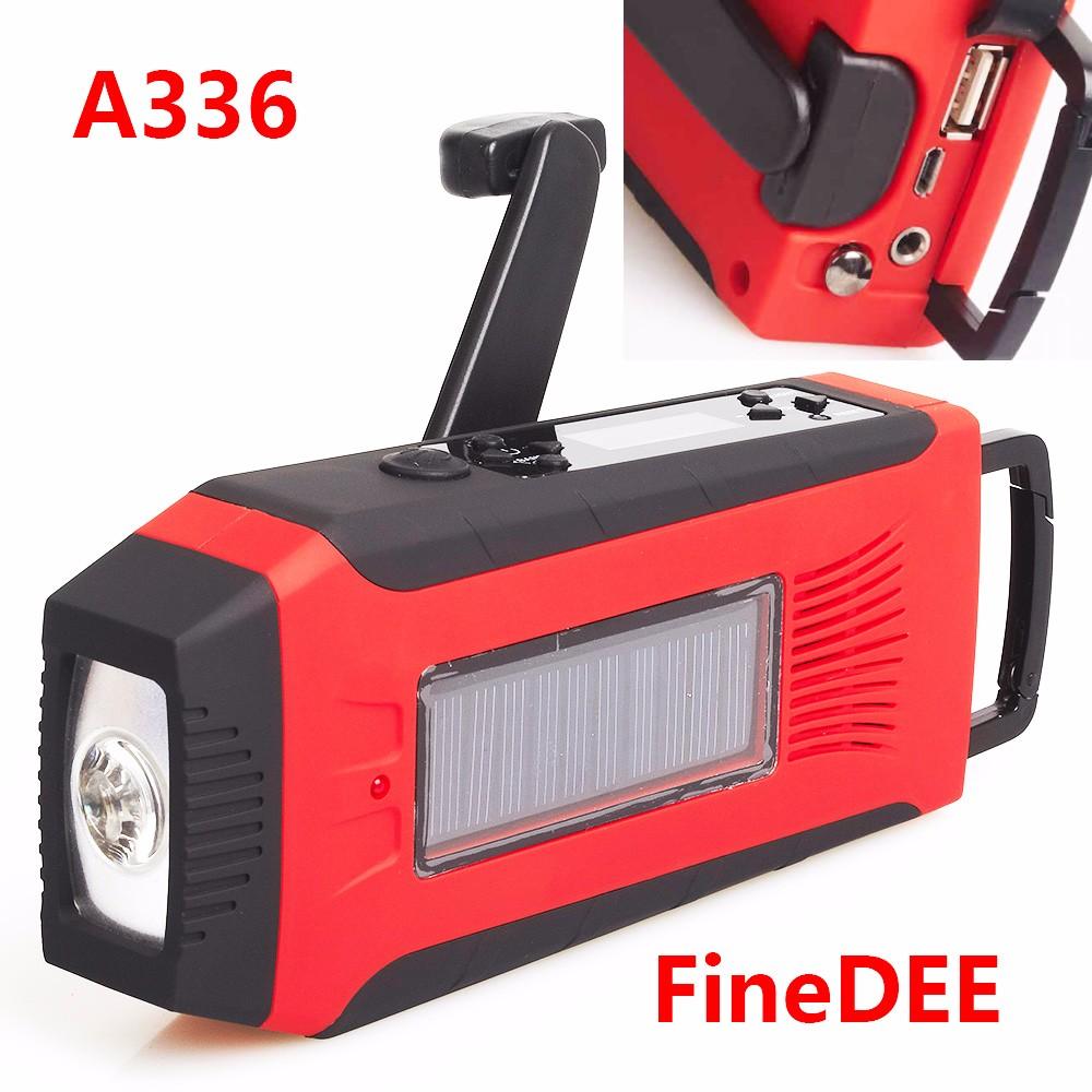 Finedee Emergency Waterproof Crank Solar Powered Am/fm ...