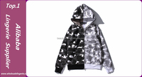 Latest Designs Cotton Pullovers Patchwork 2 Colors Sweatshirts Full Print zip up Tops with hood