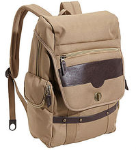 Hot style backpack canvas with faux leather accents